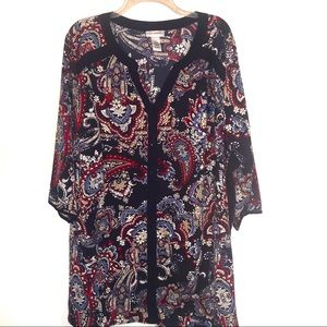 Catherine's Paisley Boho Button Down Tunic Top-2X